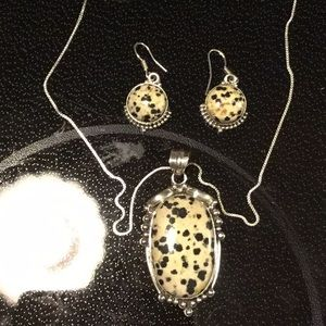 Sterling. 18 inch Necklace Dalmation Stone